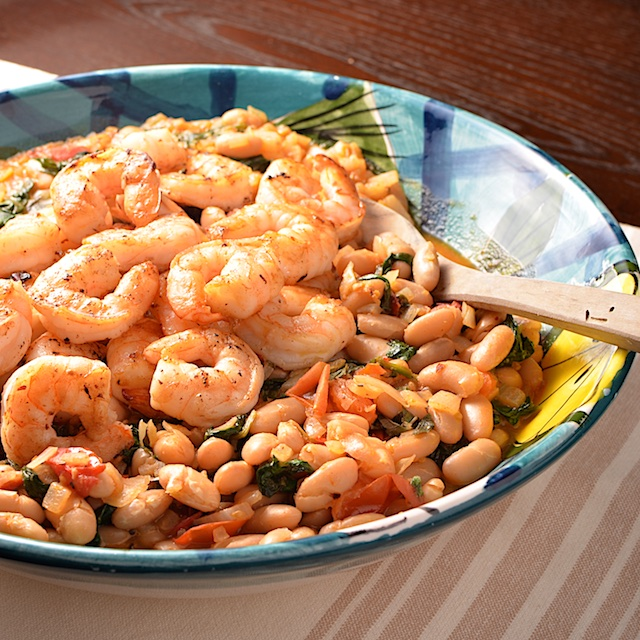 Shrimp with Spinach White Beans and Tomato