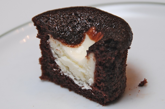 black bottom cupcake half